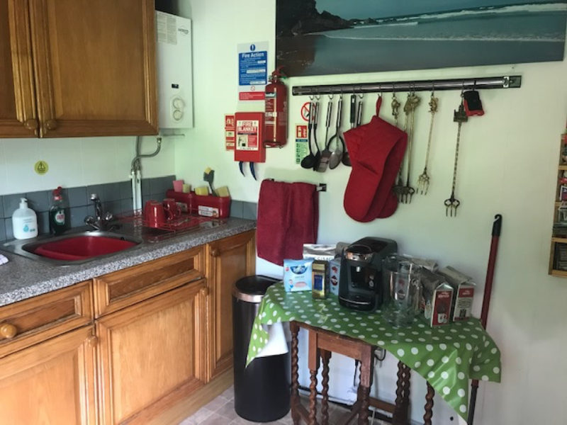 The Cabin contains a home-from-home fully fitted kitchen with, microwave, Electric Oven & Gas hob, fridge-freezer pots, pans, crockery, etc. We provide washing up liquid and Tea-towels.