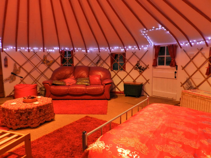 Our huge unique wooden yurt provides a beautiful calming relaxing space.